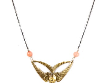 Swallow & Coral Necklace