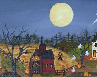 Halloween painting,  folk art painting,  Autumn painting, ghosts, witches, black cat, owl, full moon, spooky
