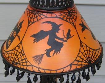 Halloween painting, halloween folk art, vintage halloween, witch, ghosts, black cat, haunted house. OOAK