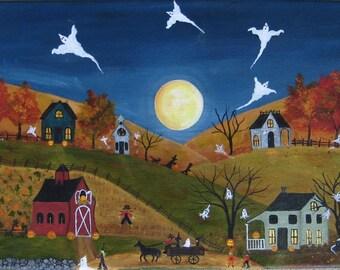 Halloween folk art, Halloween painting, Autumn decor, ghosts, witches, bats, full moon, jack-o-lanterns