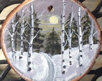 Hand painted Christmas tree ornament, Christmas ornament, winter painting