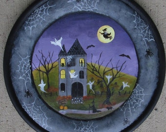 Halloween painting~*~haunted house~*~ghosts~*~jack o lantern~*~ witches~*~halloween decor~*~autumn~*~folk art