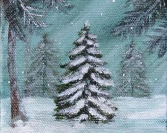 "Winter Painting~*~Christmas painting~*~Folk art~*~8""x8""~*~christmas tree"