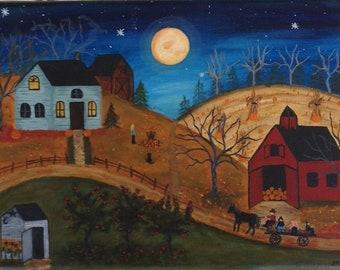 Autumn painting, Halloween, folk art painting, pumpkins, original painting, apples, full moon, pumpkins