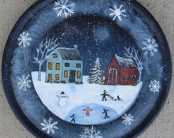 Winter painting~*~folk art painting~*~Snowflake painting~*~