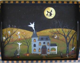 Halloween painting, Halloween folk art, witch, ghost, pumpkins, Original Halloween art, READY TO SHIP