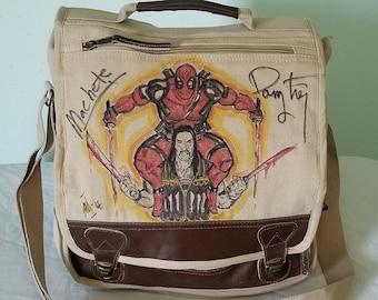 Danny Trejo Autographed Machete and Deadpool Messenger Bag by Sean Iredale