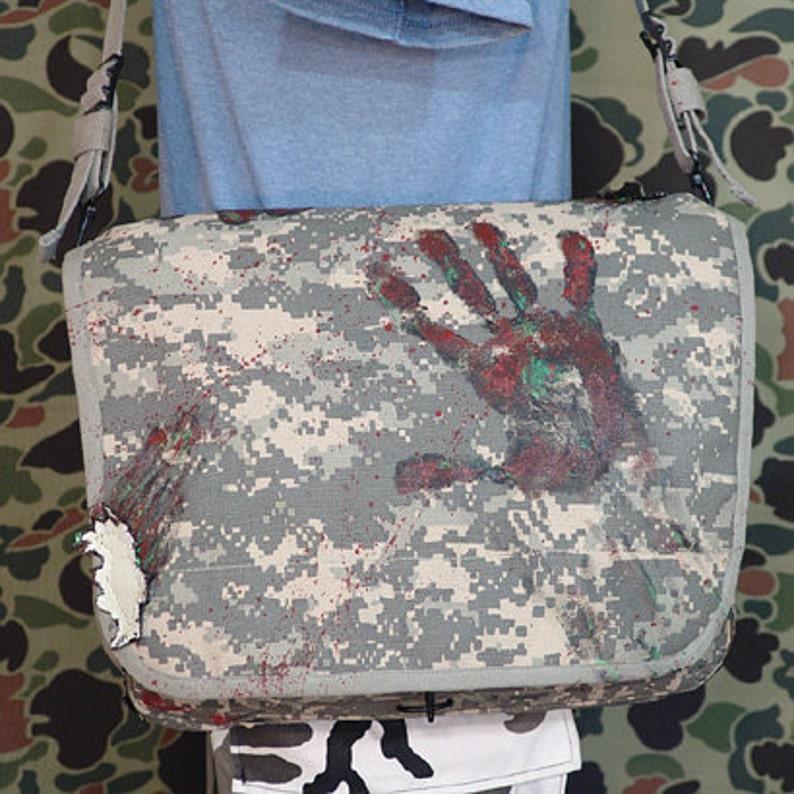 Walking Dead Zombie ShredZ canvas digital camo shoulder bag image 0