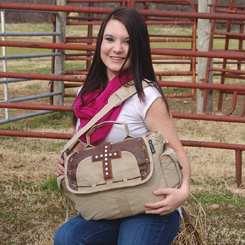 Leather Cross Canvas Shoulder Messenger bag image 0