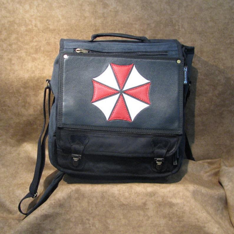 Umbrella Corporation Leather Logo Black Messenger Backpack image 0
