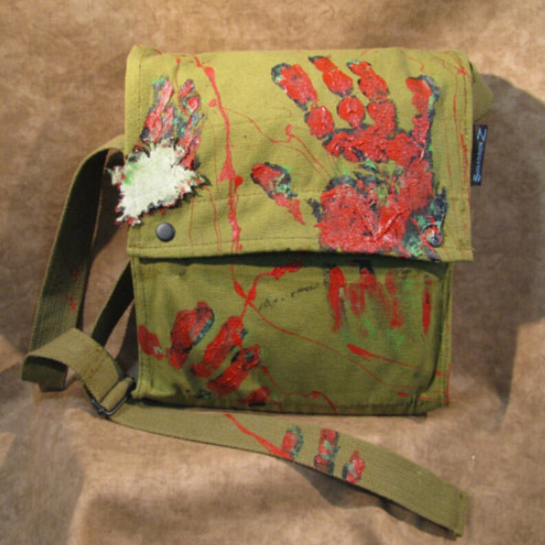 Walking Dead Zombie Shoulder Satchel Bag in Olive Green image 0