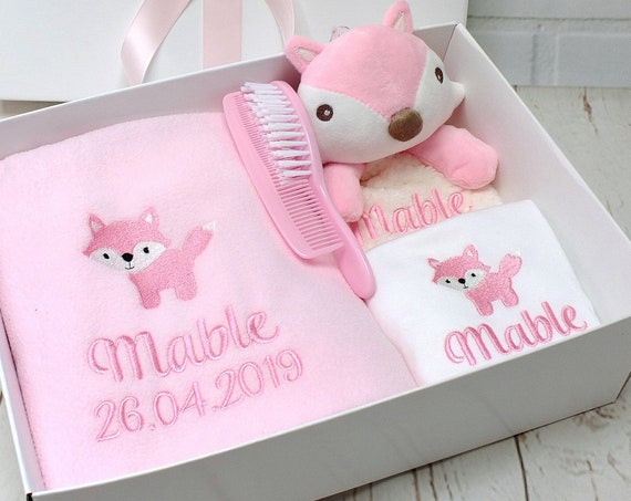 Personalised Baby Gift Set, Baby Blanket, Vest And Comforter Embroidered With Babies Name, New Baby gift, Gift Boxed, Fox Design
