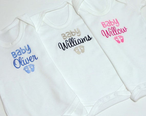 Personalised Baby Bodysuit, Vest, Embroidered, Babies Name, Colours Pink, Blue, Neutral, New baby gift, Baby Clothes,  Baby shower,