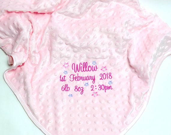 Personalised Baby Girl Blanket, Pink Baby Blanket, Embroidered Baby Blanket, New Baby Gift, Baby Shower Gift, Pram Blanket , Cot Blanket