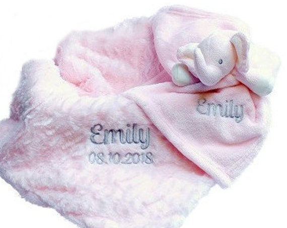 Personalised Baby Girl Blanket and Comforter, Embroidered Baby Gift Set, Gift Boxed, New Baby Christening Gift
