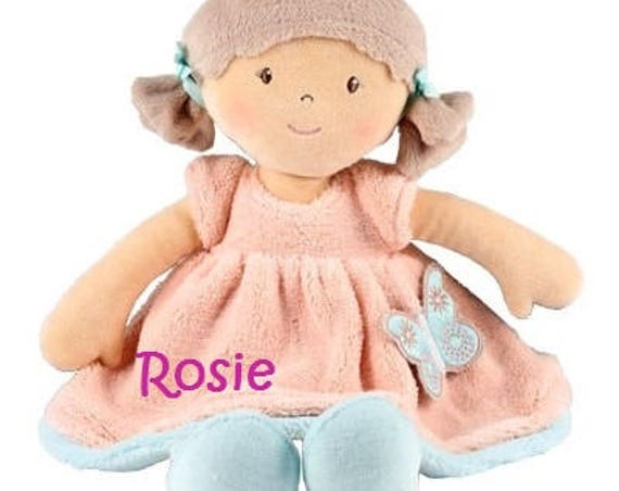 Personalised embroidered rag doll, siuitable from birth, personalised doll, embroidered doll, personalised baby girl gift, new baby gift