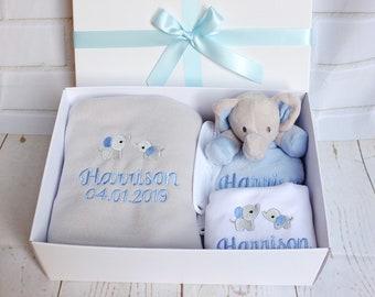 New Baby Gift, Baby Gift Set, Personalised Gift Set, Blanket, Comforter, Bodysuit, Gift Boxed, Unique Baby Gift, Baby Shower Gift,Baby Boy