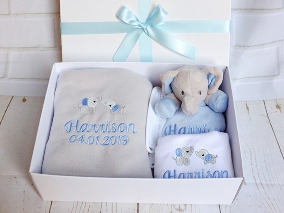Personalised Baby Boy Gift Set, Embroidered Blanket, Comforter, Vest/Bodysuit, Gift Boxed, New Baby Gift, Unique Baby Gift,