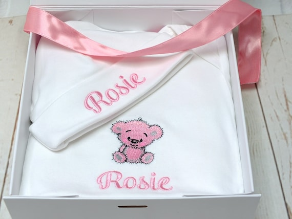 Cotton Baby Girl Blanket, Embroidered Blanket Vest and Beanie Hat, Personalised New Baby or Christening Gift. Gift Boxed