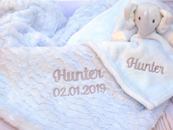 Personalised Baby Boy Blanket and Comforter, Luxury Embroidered Gift, Soft Blue or Grey Baby Blanket,  New Baby Gift