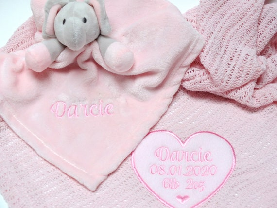 Personalised Pink Cotton Cellular Baby Blanket, Embroidered With Babies Birth Details, New Baby Gift,