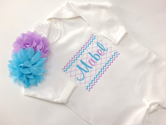 Personalised Baby Romper Suit, Embroidered Baby Sleepsuit, Baby Girl Clothing, Flower Headband