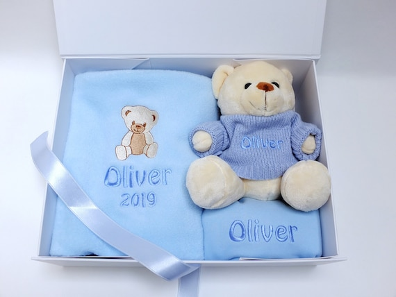 Personalised Baby Boy Gift Set, Fleece Blanket, Teddy Bear with Personalised Jumper and Bib, Gift Boxed,