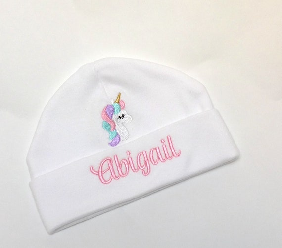 Personalised Embroidered Bay Beanie Hat, Embroidered with Unicorn and Babies Name, New Baby Gift, Baby Shower, Cotton Beanie Hat