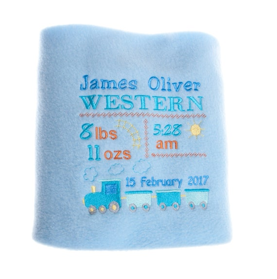 Personalised Gift, Embroidered Gift, Baby Boy Blanket, New Baby Gift, Train Blanket, Receiving Blanket, Baby Blanket, Custom Blanket