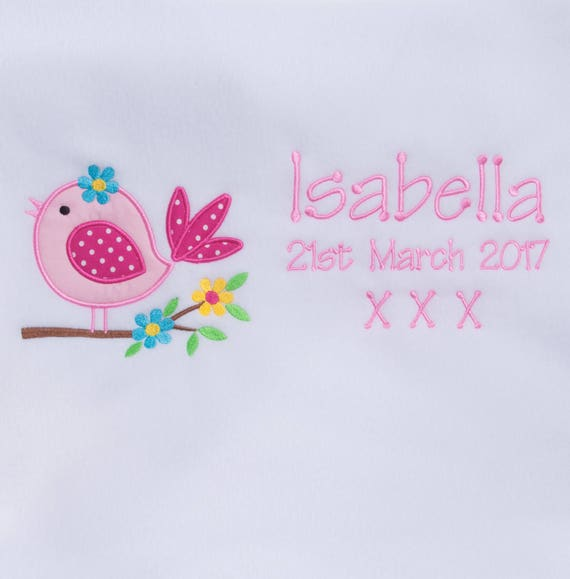 Personalised Fleece Baby Blanket Baby Girl Embroidered With Babies Name New Baby Gift Christening Gift