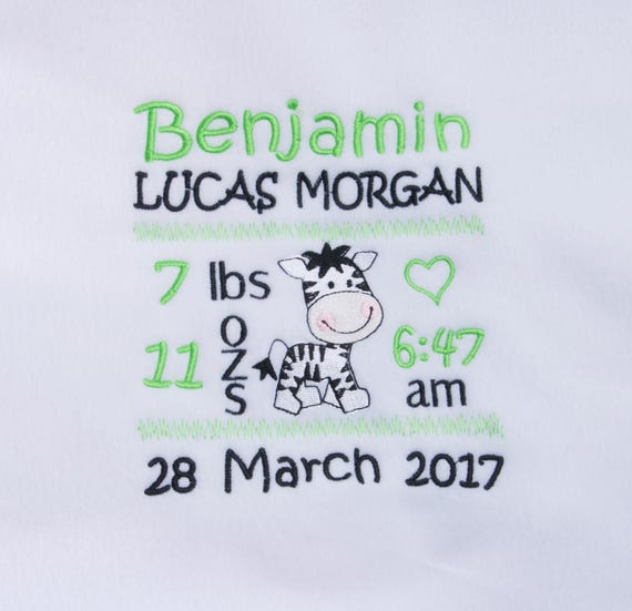 Personalised Baby Blanket, Baby Boy, Fleece Blanket,Embroidery, Zebra Design, Babies Birth Details, Cot Blanket, Baby Shower Gift,