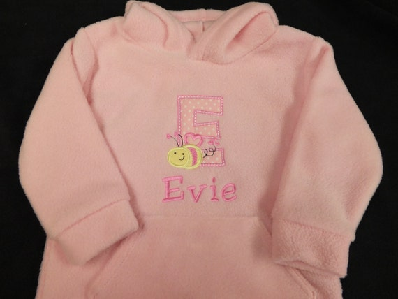 Personalised Baby Clothes Baby Hoody Embroidered Fleece Hoodie/Hoody Baby Toddler Pink Personalised Baby Clothing Baby Girl Top Jumper Pink