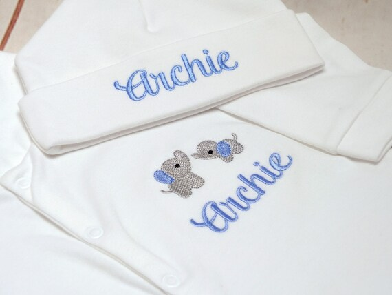 Personalised Baby Sleepsuit, Baby Boy Sleepsuit, Embroidered Onesie, New Baby Gift, Coming Home Outfit, Baby Shower Gift, Optional Hat