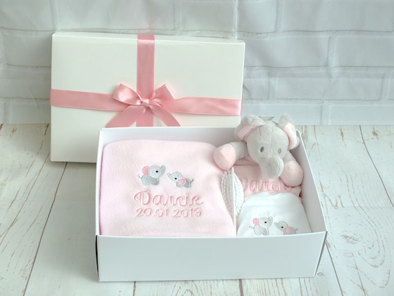 Personalised Baby Girl Gift Set, Embroidered Blanket, Comforter, Vest/Bodysuit, Gift Boxed, New Baby Gift, Unique Baby Gift, Christening