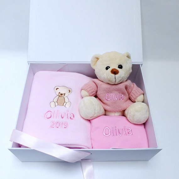 Personalised Baby Girl Gift Set, Embroidered Baby Gift, Fleece Blanket, Teddy Bear with Personalised Jumper, Bib, Gift Boxed,