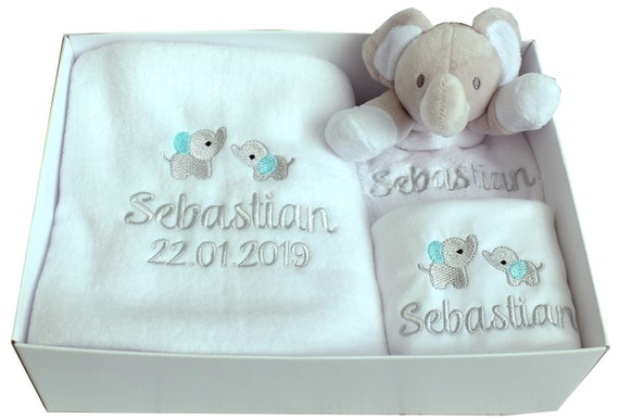 Personalised Baby Gift Set, Embroidered Blanket, Comforter, Vest/Bodysuit, Gift Box, New Baby Gift, Christening Gift, Neutral