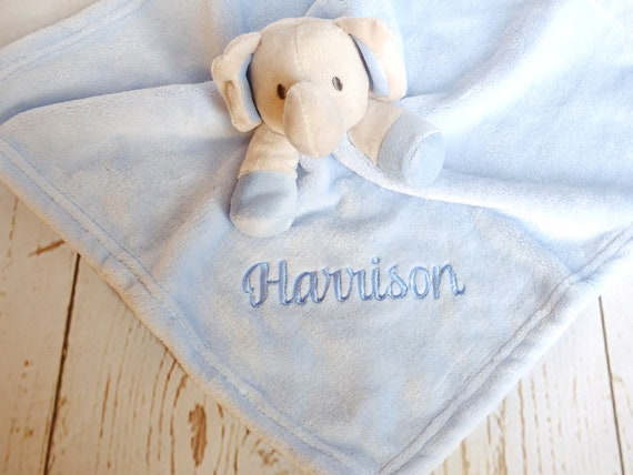 Comforter, Baby Comfort Blanket, Personalised Elephant Comforter In Pink Blue Or White Embroidered With Babies Name, New Baby Gift