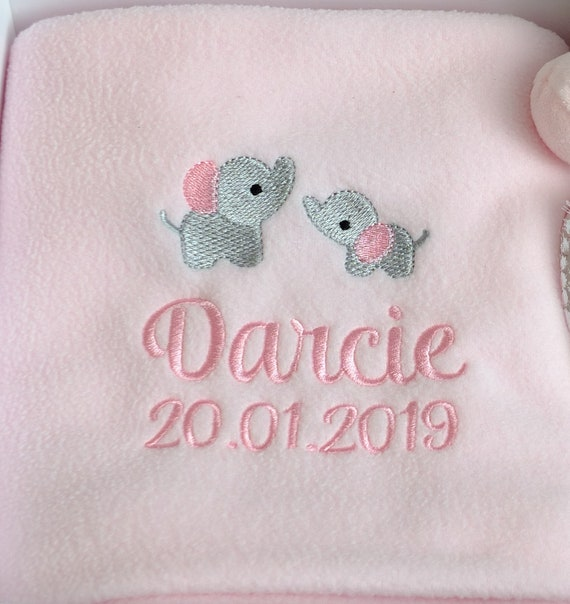 Personalised Baby Blanket, New Baby Gift, Elephant Blanket, Girl Boy Neutral Fleece Blanket, Embroidered, Baby Gift, Christening Gift