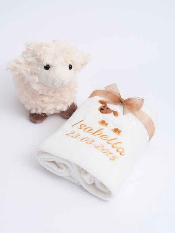 Personalised Embroidered Fleece Baby Blanket with Cute Lamb Toy