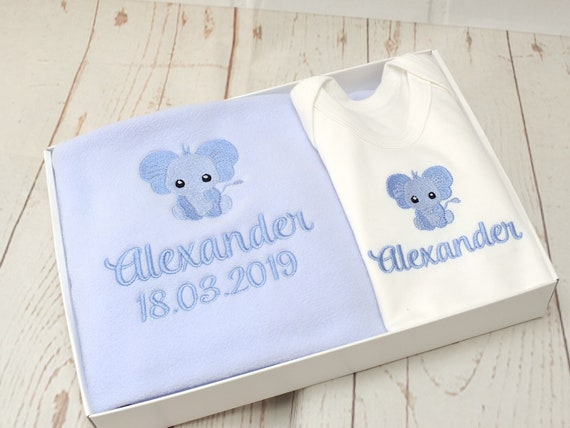 Coming Home Baby Boy Gift Set, Personalised Blanket /Bodysuit, New Baby Gift, Baby Blanket/ Bodysuit Vest, Gift Boxed, Embroidered Gift