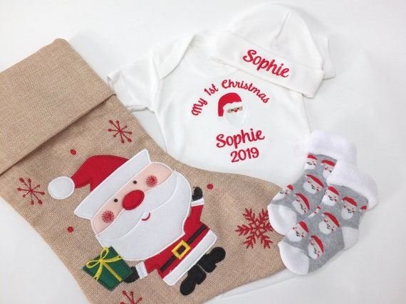Personalised Baby Christmas Stocking Gift Set, Personalised Stocking, Bodysuit/Vest and Hat Socks, Babies 1st Christmas Gift Set, Gift Boxed