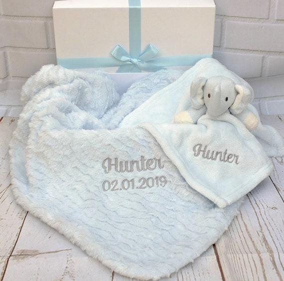Personalised Baby Boy Blanket and Comforter Boxed Gift Set Embroidered Blanket and Comforter