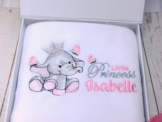 Personalised Embroidered Baby Girl Blanket, Gift Boxed,  Christening New Baby Gift, Cute Elephant Design