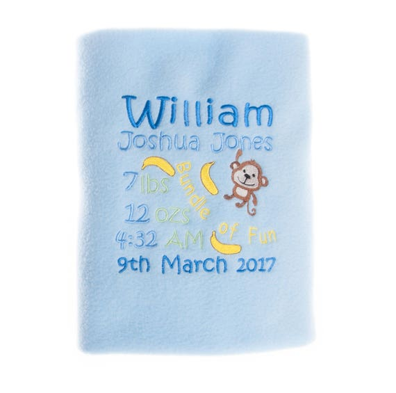 Personalised Baby Boy Fleece Blanket With Birth Details And Cute Monkey