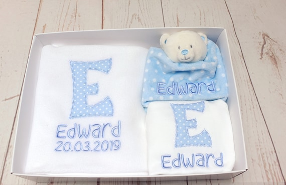 Personalised Embroidered Baby Boy Gift Set, Blanket, Vest and Comforter, Gift Boxed