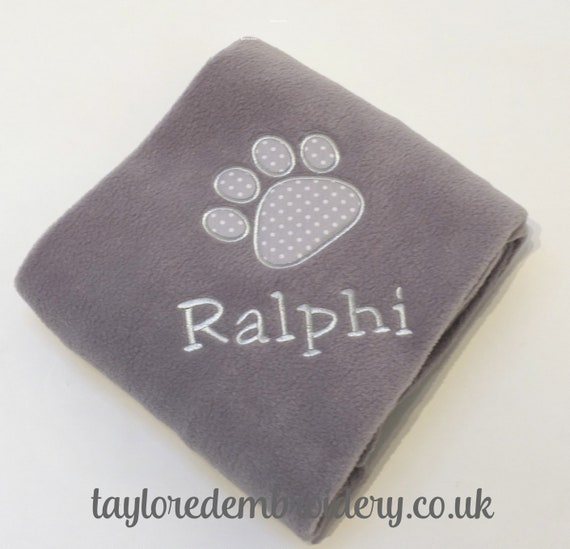 Personalised Fleece Blanket, Puppy, Dog Cat, Kitten Blanket, New Puppy Blanket, Embroidered With Your Pets Name and Paw Print Design Grey