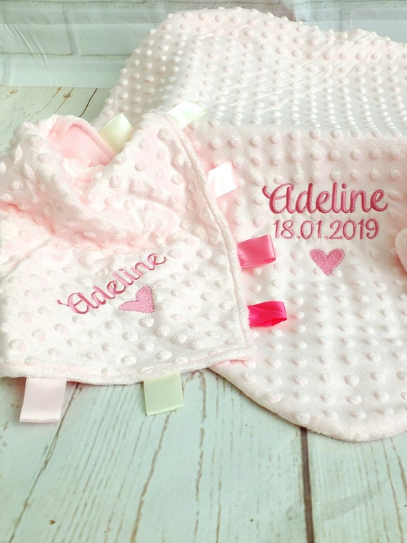 Personalised Luxury Minky Blanket and Matching Ribbon Comforter , Embroidered Baby Gift, Pink or Blue, New Baby Christening Gift