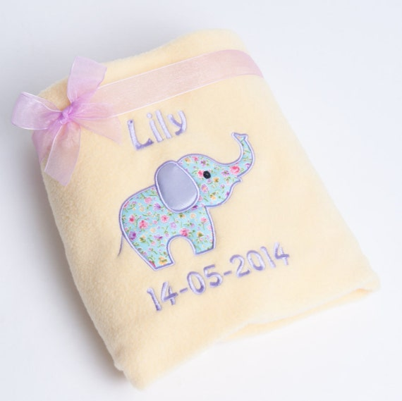 Personalised Baby Blanket, Lemon Fleece Blanket, Embroidered with Cute Floral Elephant Design, New Baby Gift, Personalised Baby Gift