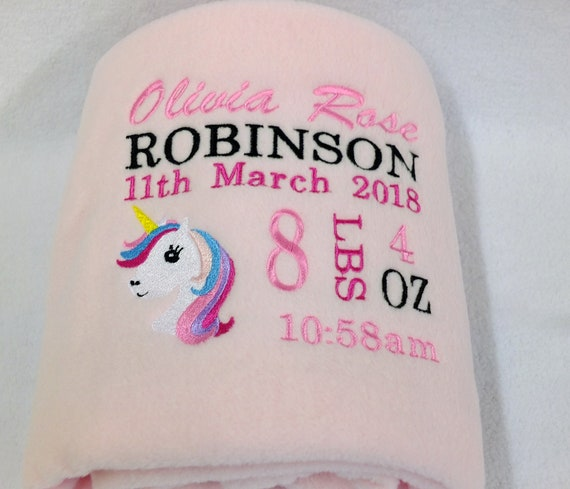 Personalised baby blanket, Unicorn blanket, Embroidered, Pink Blanket, New Baby Gift, Christening Gift, Baby Blanket, Unicorn Gift, Fleece