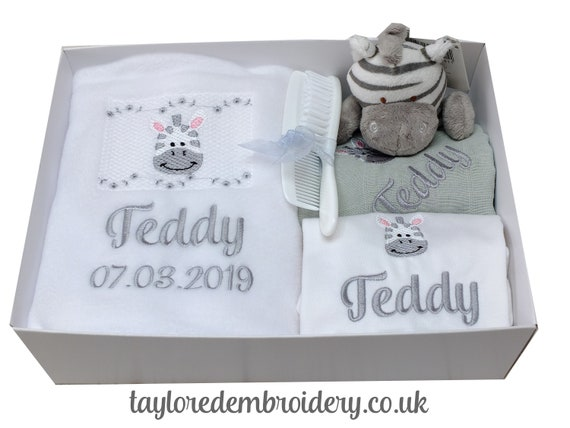Personalised Embroidered Baby Gift Set, Blanket, Bodysuit, Muslin and Zebra Soft Toy Rattle, Gift Box, New Baby Gift